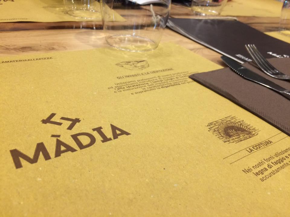 Pizzeria Madia, tovaglietta