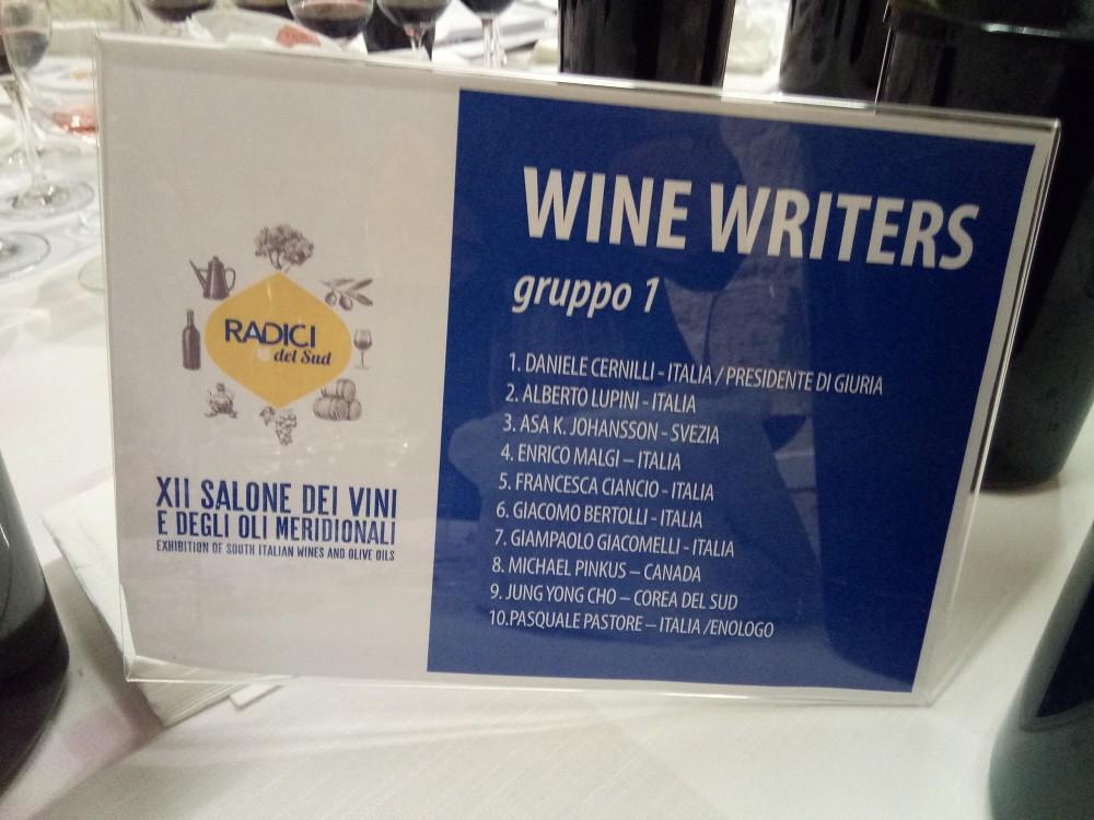 Radici del Sud Composizione della giuria wine-writers Gruppo 1