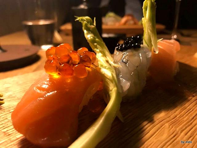 Roji nigiri di tonno magro e olio evo salmone balik e ikura gambero blu con tartufo
