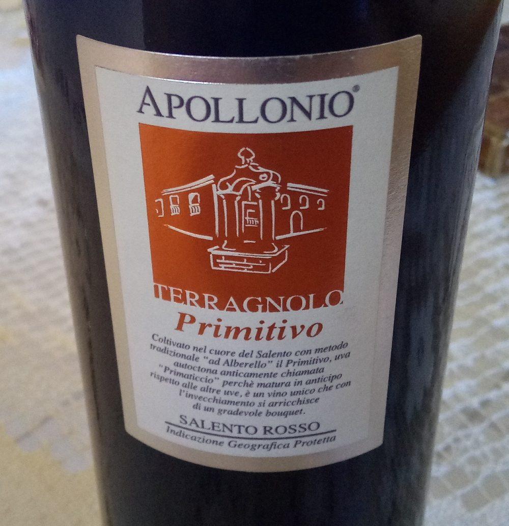 Terragnolo Primitivo Salento Rosso 2012 Apollonio