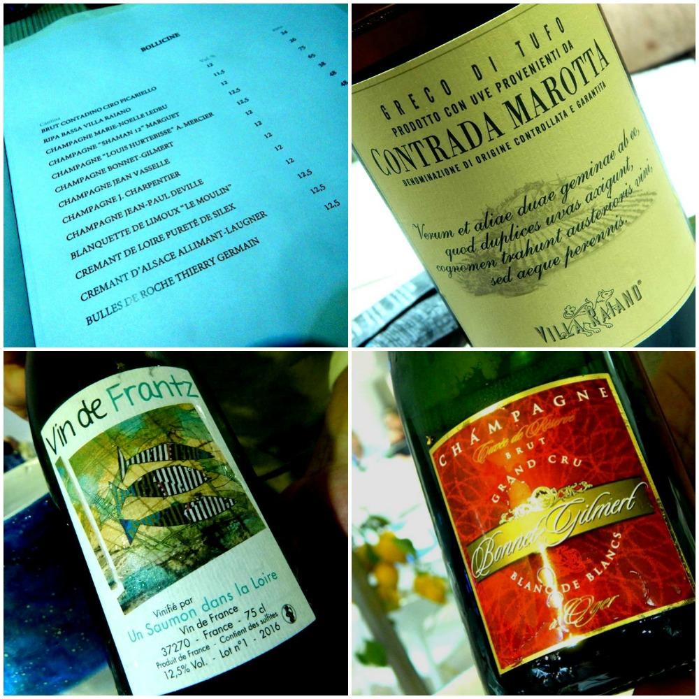 Triglia, carta dei vini, vini e champagne