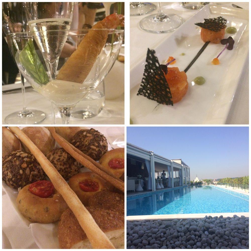 Tazio - Gambero in pasta Kataifi, tartare di salmone, la terrazza Posh dell'Hotel Boscolo Esedra, i sei tipi di pane