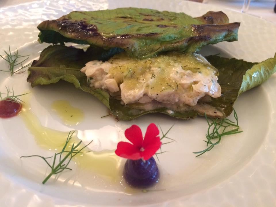 La Caravella, il pesce cotto nelle foglie di limone