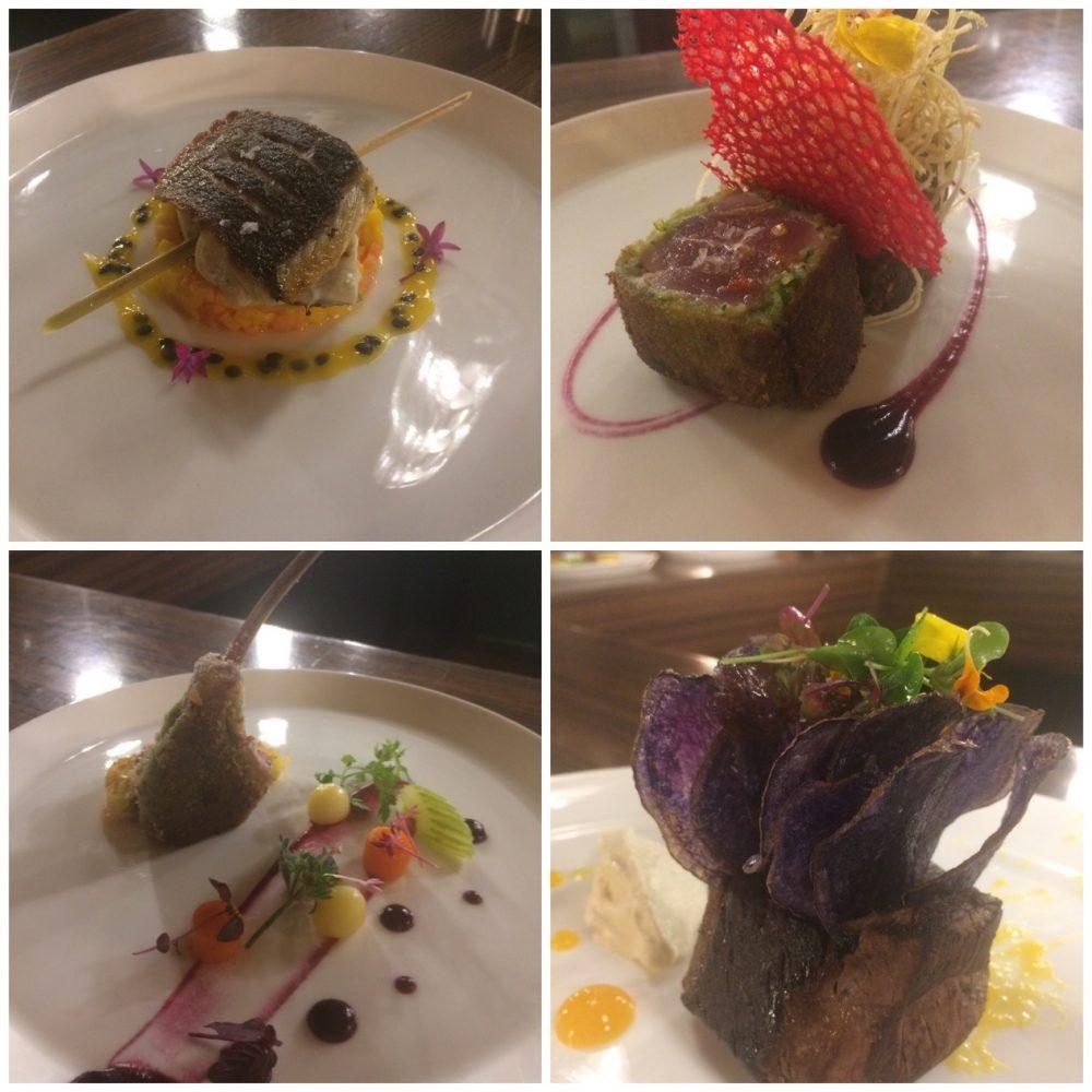Tazio - Filetto di marmora alla piastra con citronella, Tonno in crosta di pistacchi,Filetto di cervo e patate viola, Costoletta di Agnello al timo