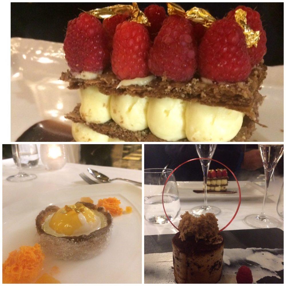 Tazio - Millefoglie al cioccolato, lamponi e foglie d'oro,Tiramisu', crostatina con sbrisolona di meringa e bavarese di pesche