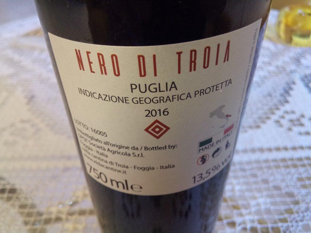 Controetichetta Nero Il Primo Nero di Troia Puglia Igp 2016 Elda