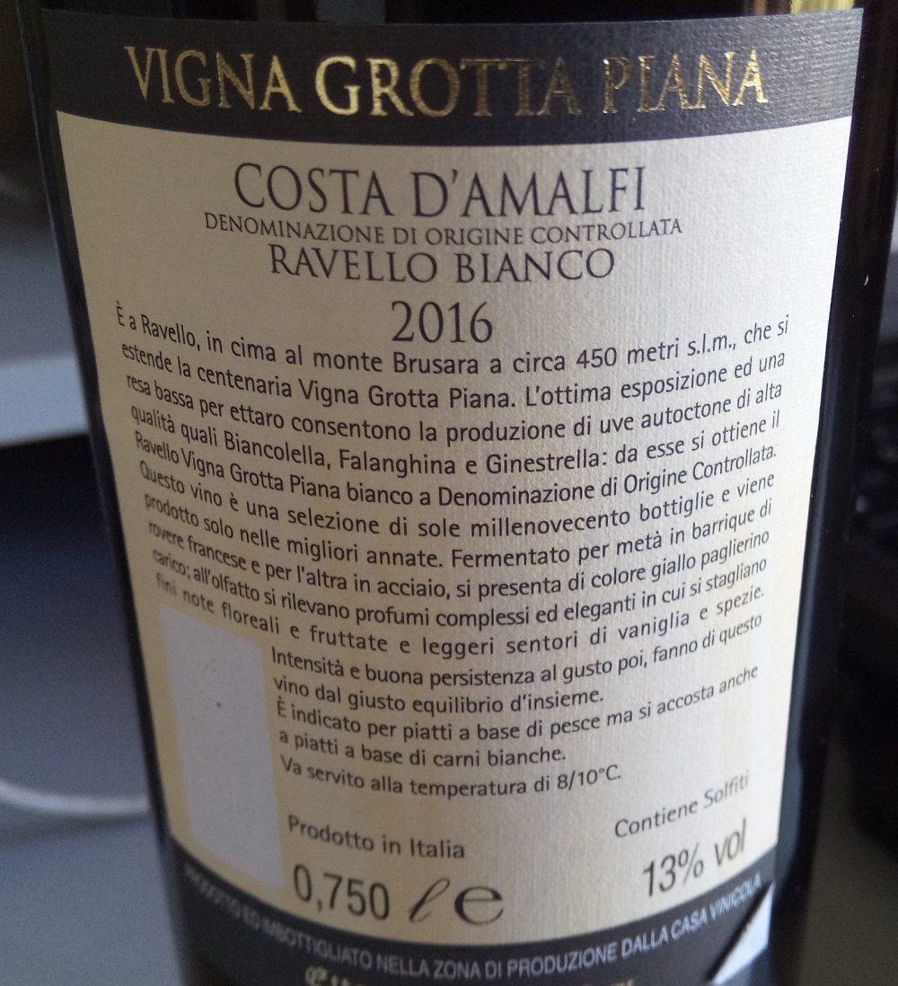 Controetichetta Vigna Grotta Piana Costa d'Amalfi Ravello Bianco Doc 2016 Sammarco