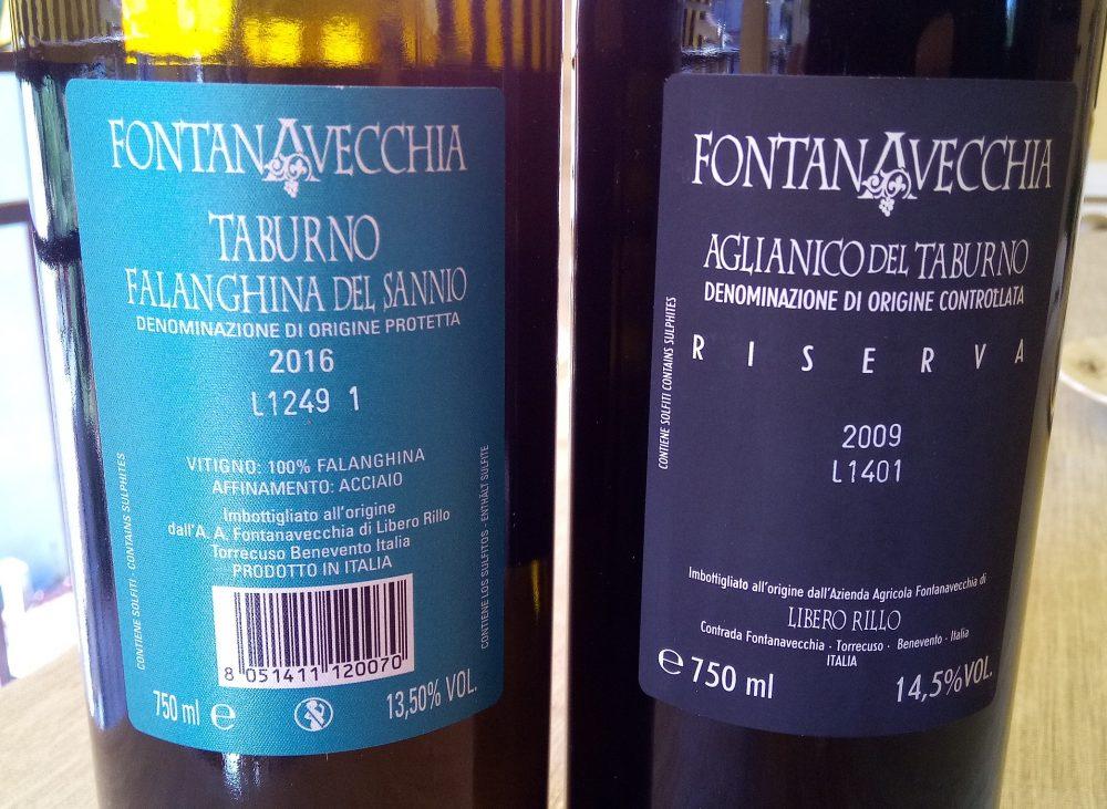 Controetichetta vini di Fontanavecchia vincitori a Radici del Sud 2017