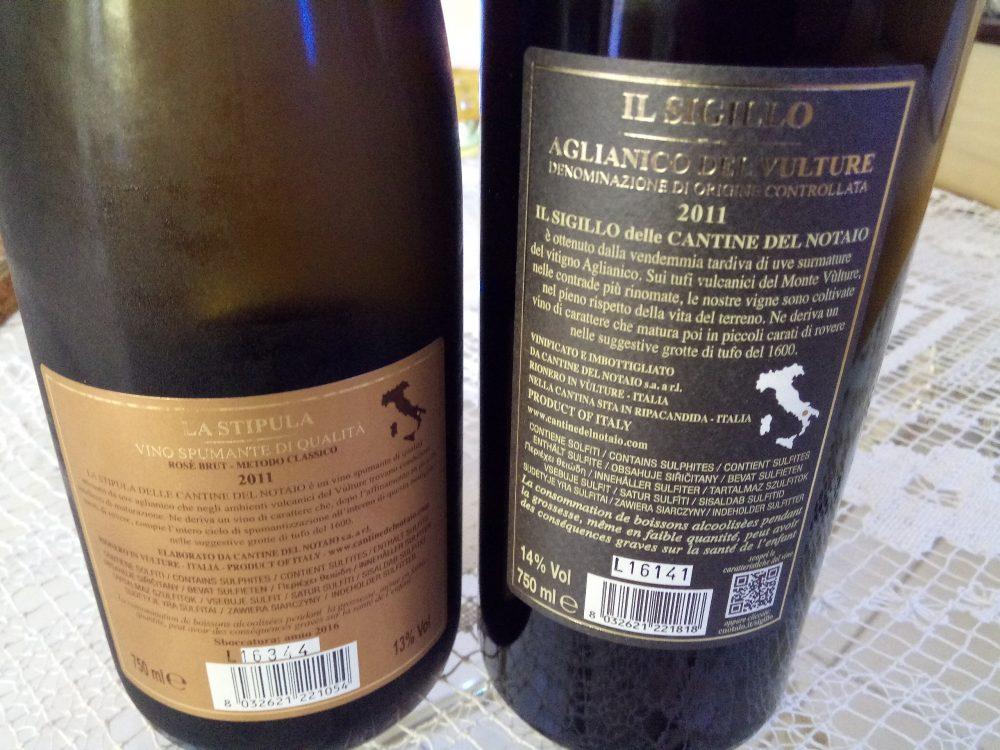 Controetichette vini delle Cantine del Notaio piazzati a Radici del Sud 2017