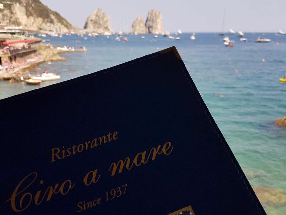 Ciro a Mare, il menu' e i faraglioni