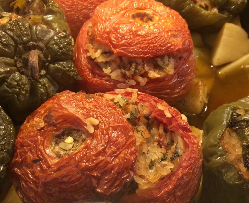 Klimataria, pomodori e peperoni con riso al forno