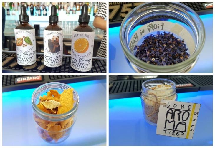 Vini...le, aromi, fiori di borragine, scorzette di limone e sale aromatizzato per i cocktail