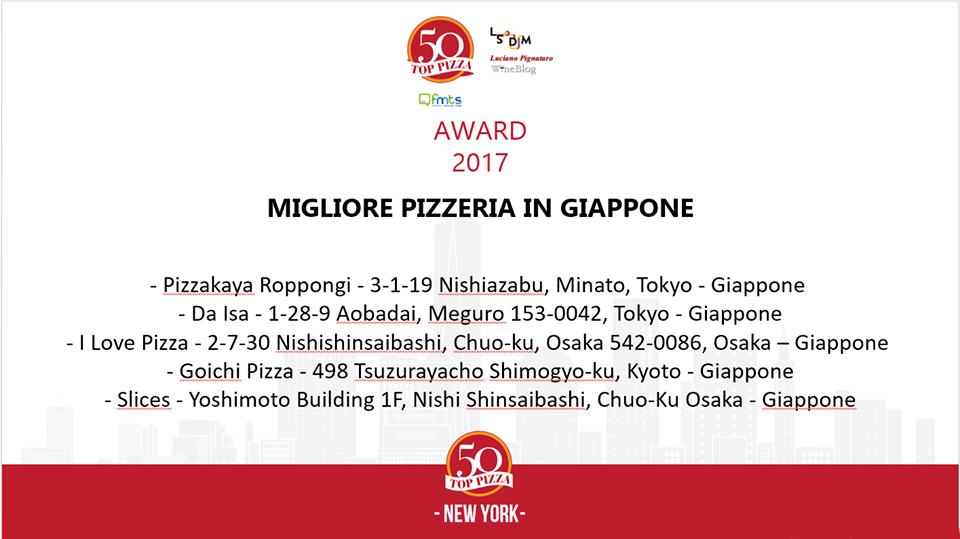 La migliore pizzeria in Giappone e le 5 nominations