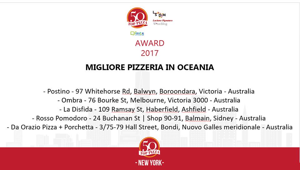 La migliore pizzeria in Oceania e le 5 candidature