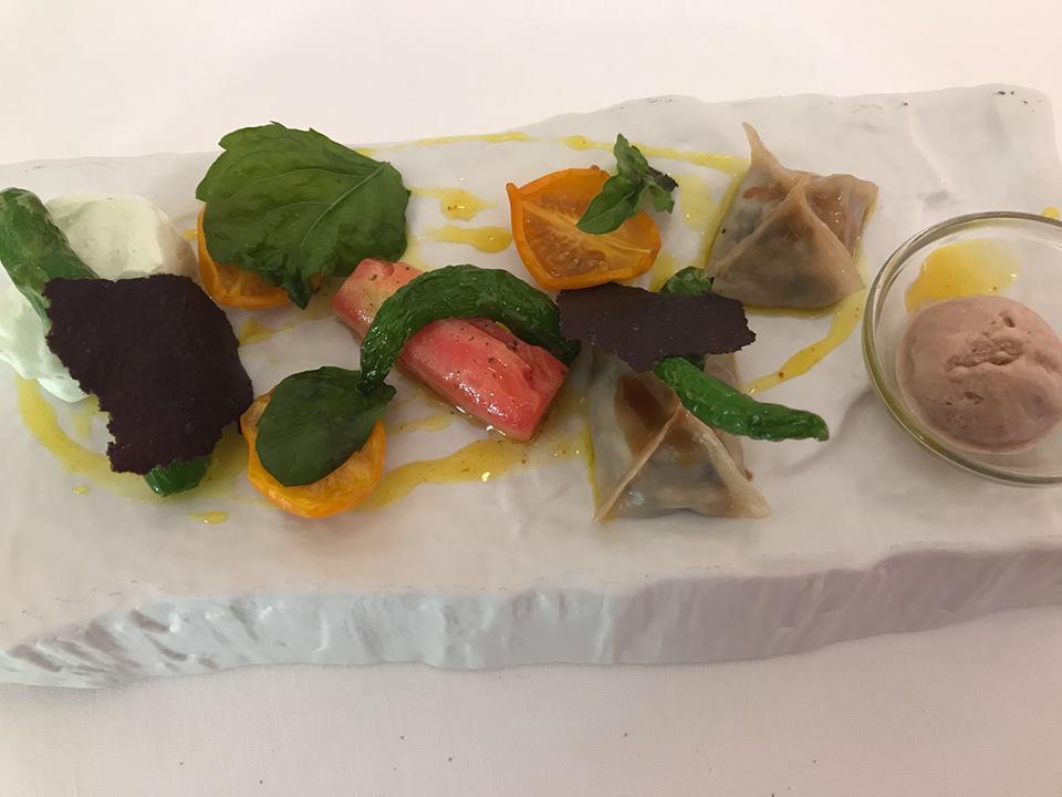 Don Alfonso Dumpling Mediterraneo con ortaggi biologici di Punta Campanella e gelato di fagioli rossi allo zenzero
