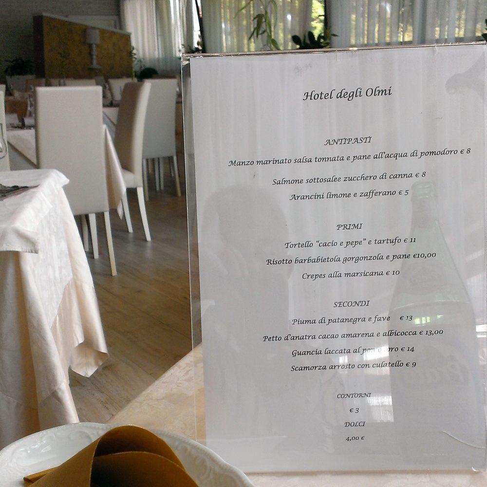 Ristorante degli Olmi - Villetta Barrea AQ – il menu' proposto
