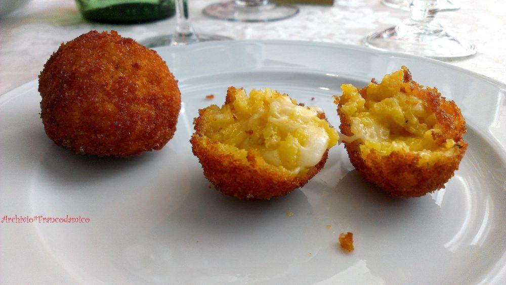 Ristorante degli Olmi - Villetta Barrea AQ – antipasto arancina limone e zafferano