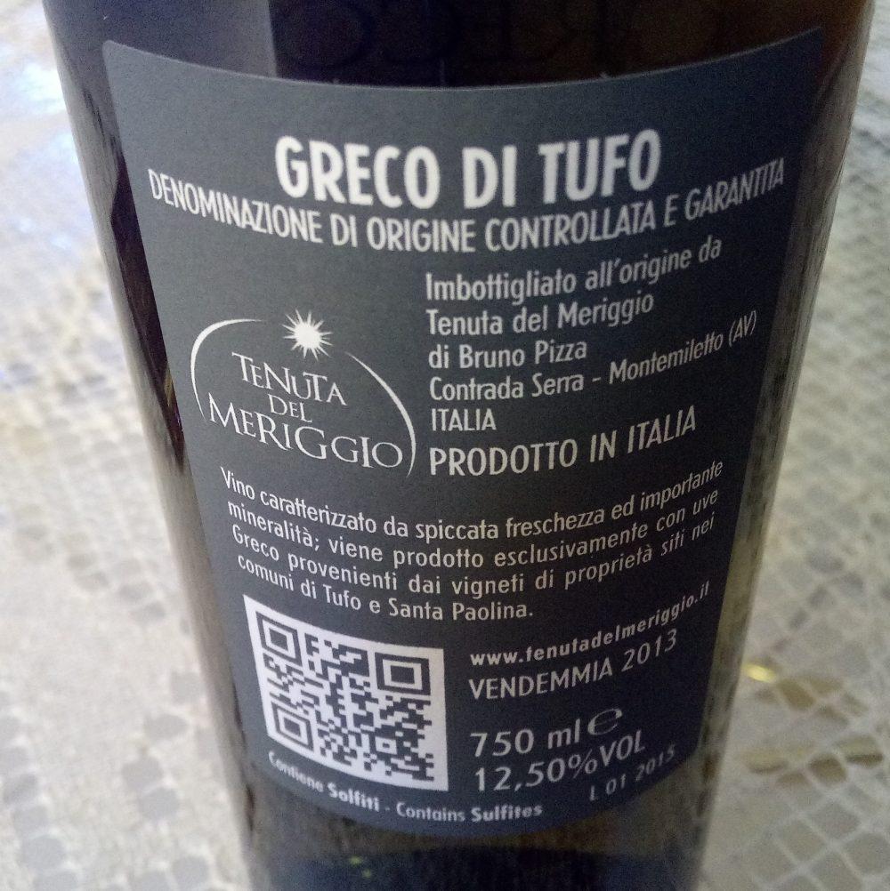 Controetichetta Greco di Tufo Docg 2013 Tenura del Meriggio Vincitore a Radici del Sud 2017