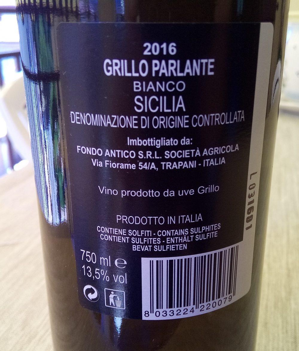 Controetichetta Grillo Parlante Bianco Sicilia Doc 2016 Fondo Antico