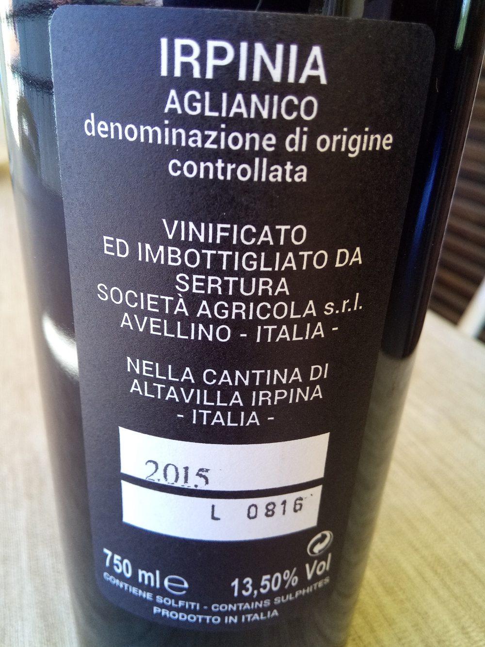 Controetichetta - Irpinia Aglianico Doc 2015 Sertura