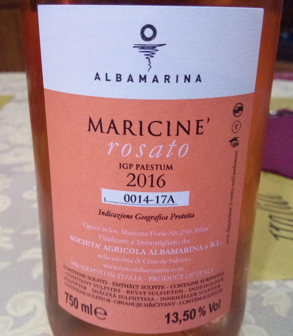 Controetichetta Maricine' Rosato Paestum Igp 2016 Albamarina
