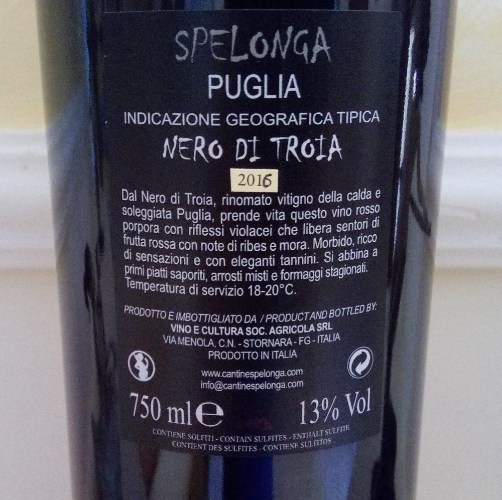 Controetichetta Nero di Troia Puglia Igp 2016 Spelonga