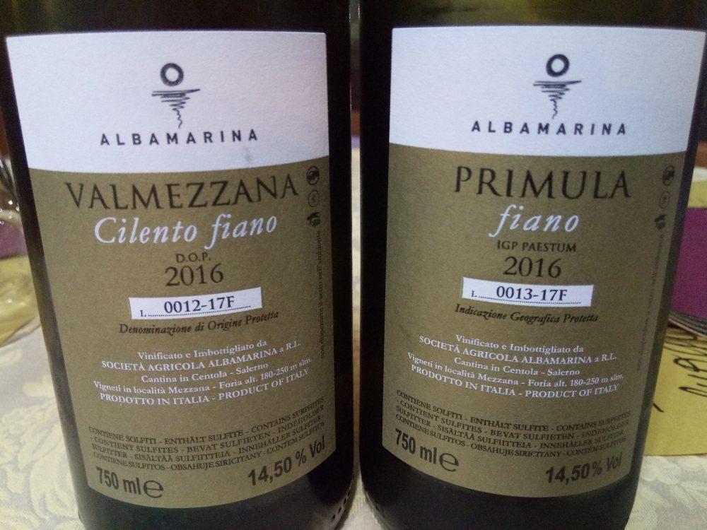 Controetichette Primula e Valmezzana Fiano Albamarina