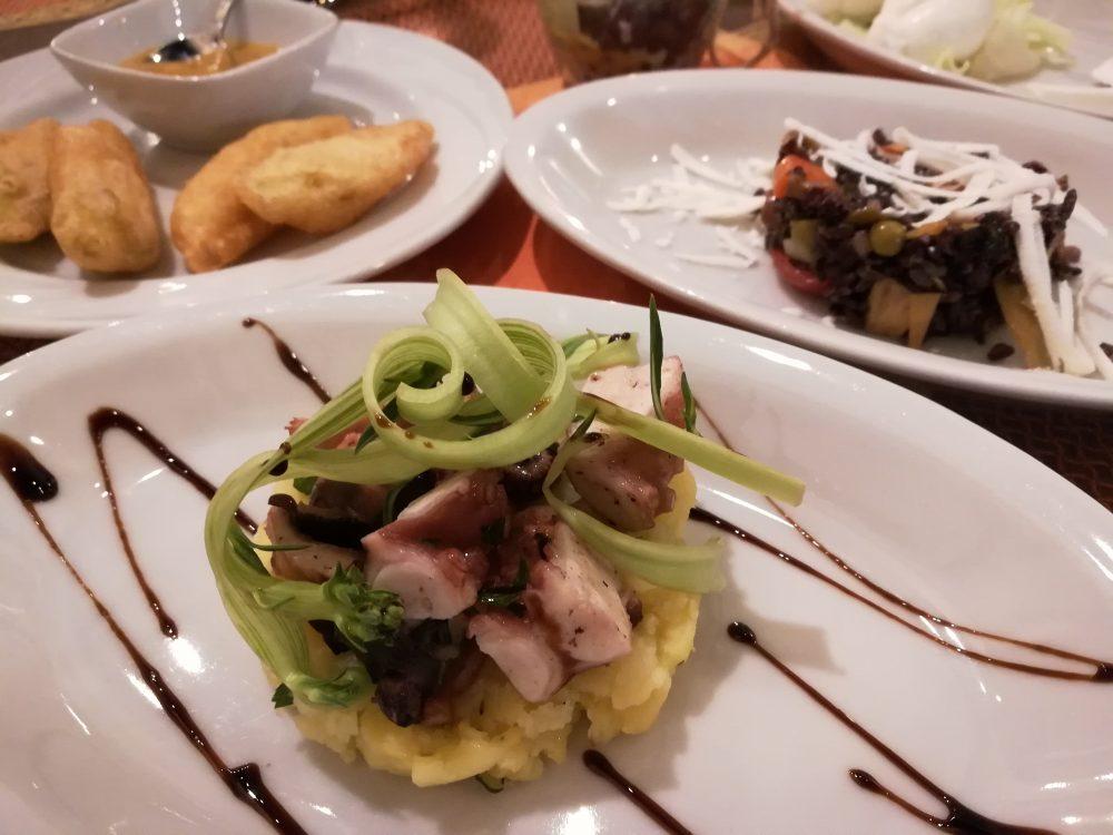 L'antica Locanda - Antipasto - parte seconda - Polpo e patate, Insalatina di Riso Venere, Fiori di zucca pastellati