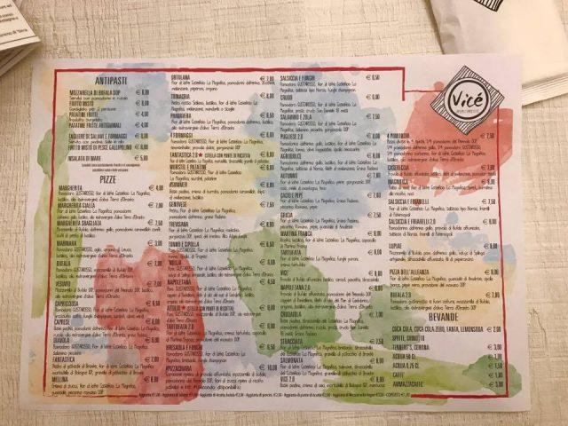 Vicè il menu