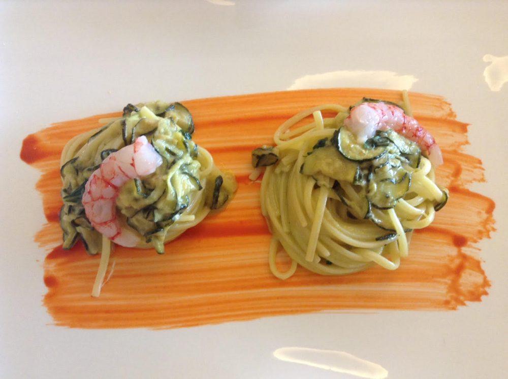 Florian Maison, linguine alla Nerano con un po' di mare, zucchine, gambero rosso e provolone del Monaco
