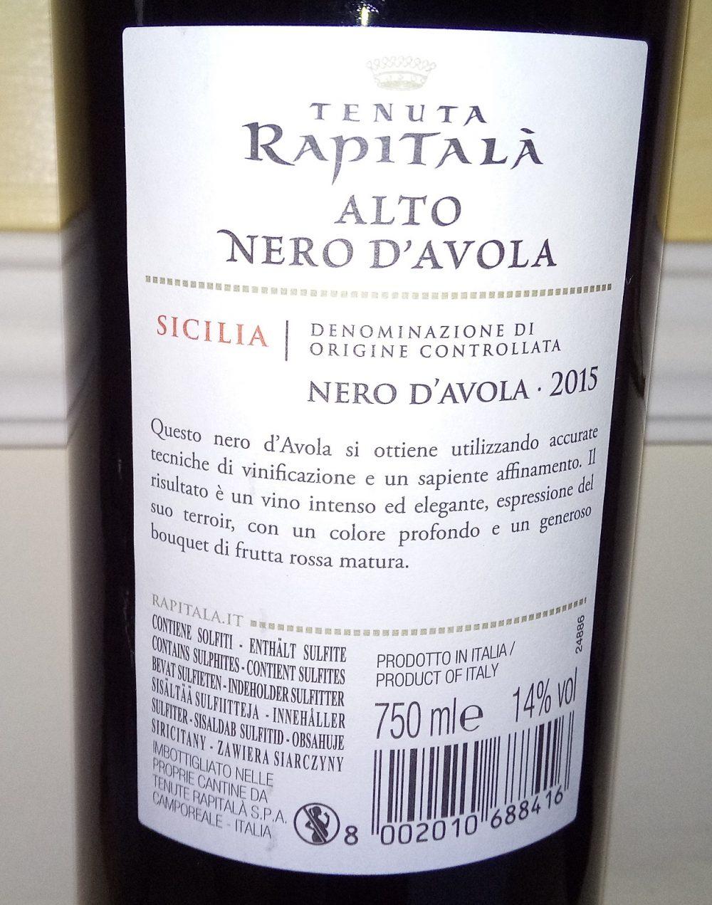 Controetichetta Alto Nero d'Avola Sicilia Doc 2015 Tenuta Rapitala'