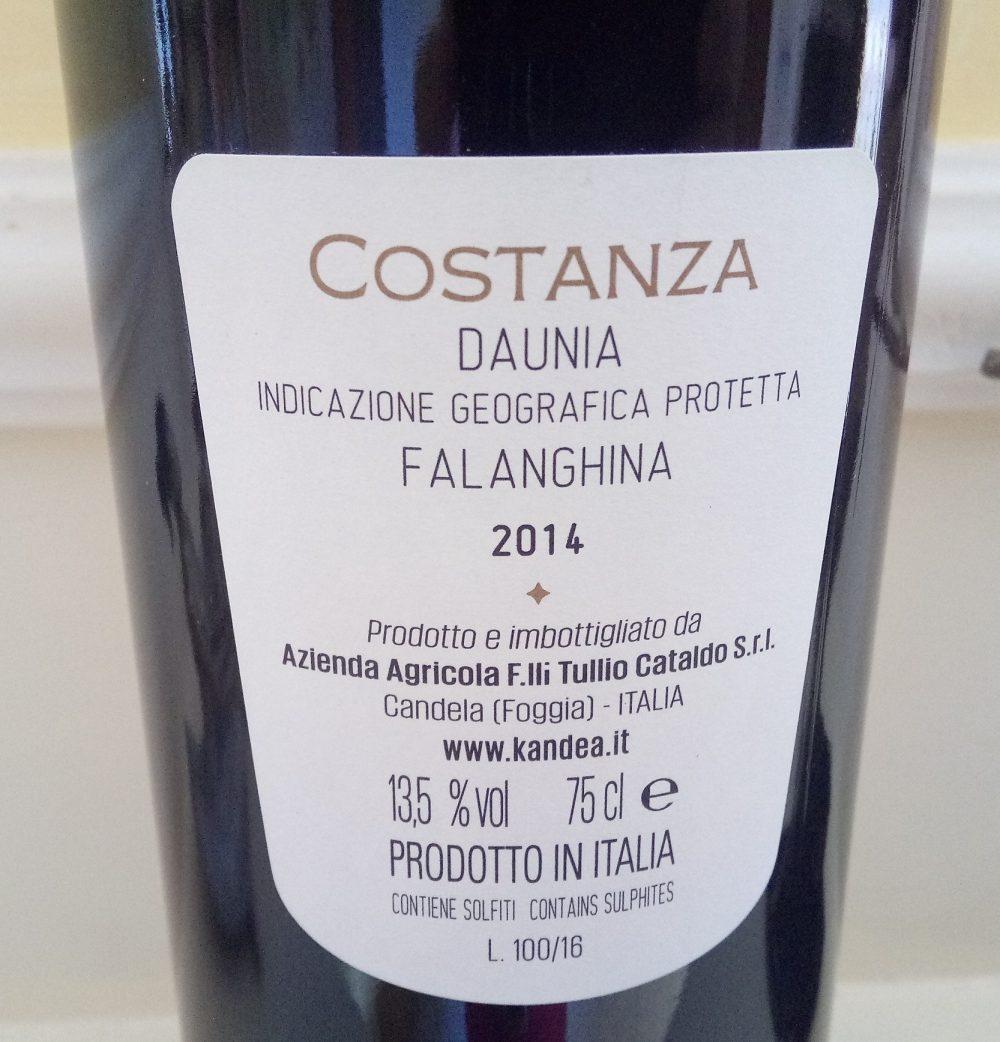 Controetichetta Costanza Falanghina Daunia Igp 2014 Kandea