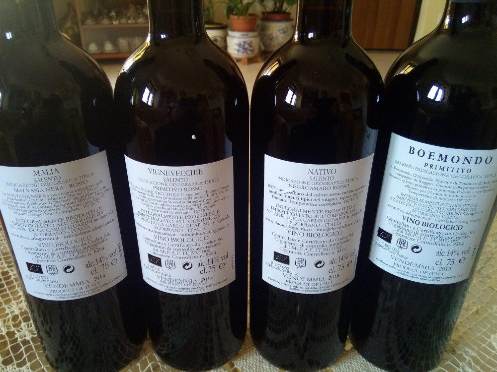 Controetichette vini di Duca Carlo Guarini