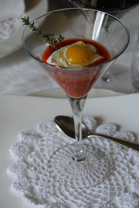 Casa Li Jalantuommeni, Cuciniello crema di pomodoro con ricottina di capra e scottata di uovo di quaglia