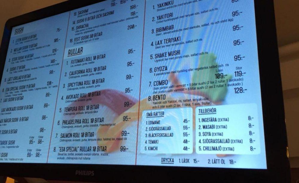 ESA Sushi - menu'