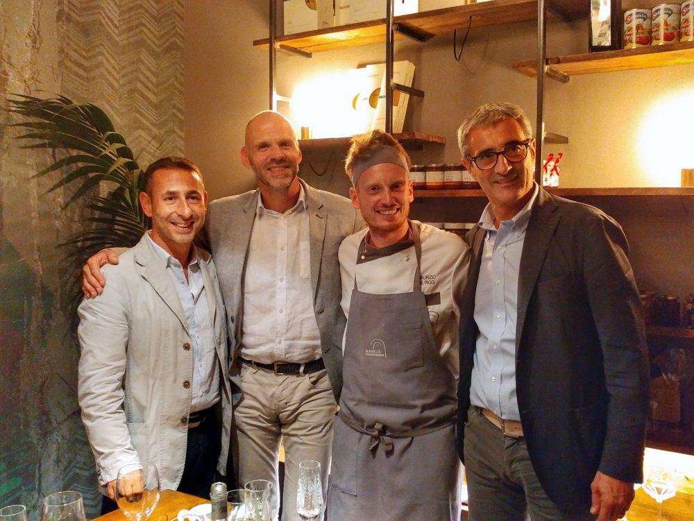 Markus Food Experience a San Paolo Belsito NA. Da sx Rodolfo Tortolani, Cristian Defloran, Maurizio De Riggi e Riccardo Felicetti