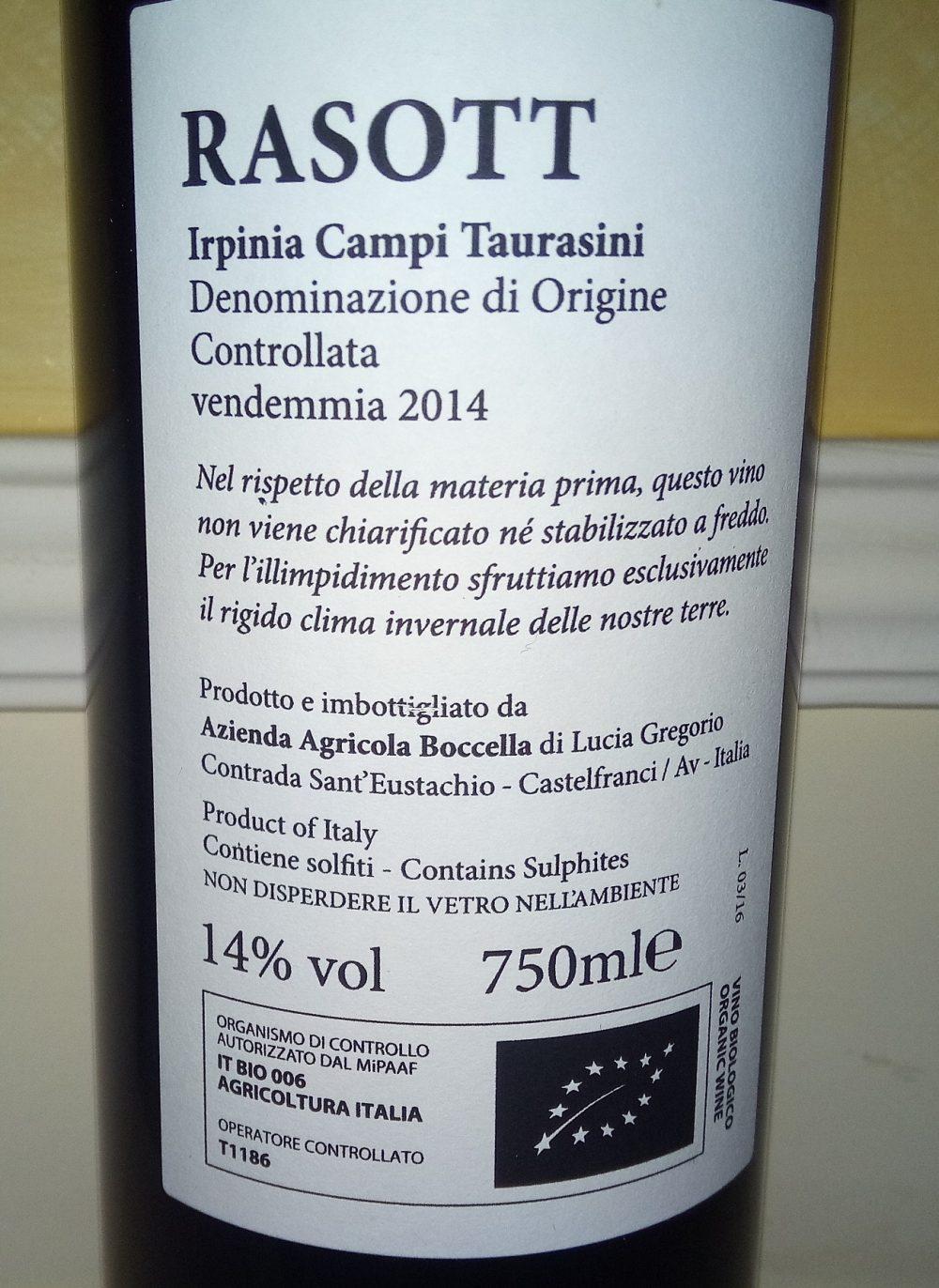 Controetichetta Rasott Irpinia Campi Taurasini Doc 2014 Boccella