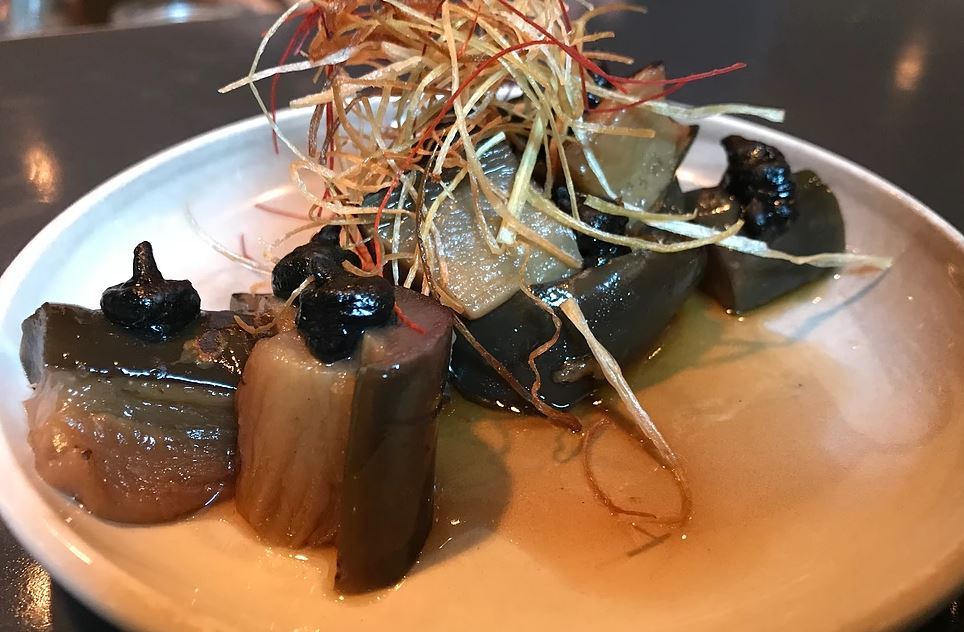 Shibumi -Miso Eggplant, Fried Leek, Beet Sprouts