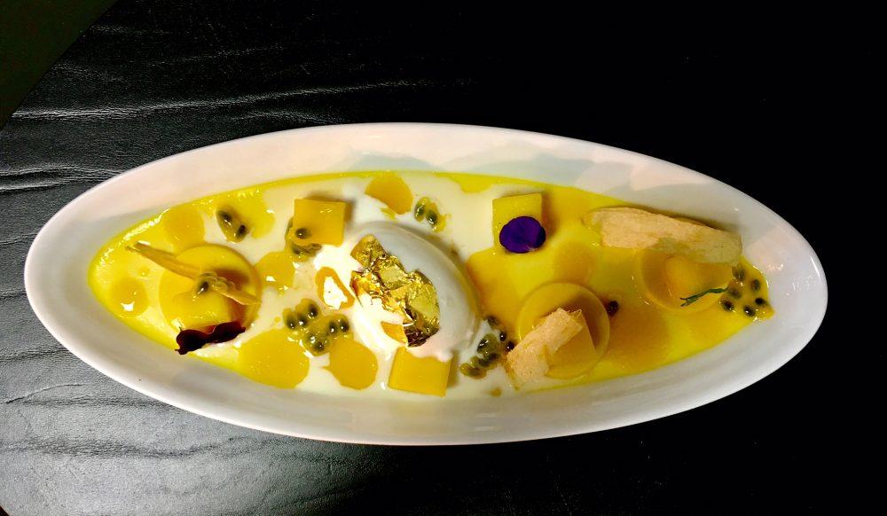 Seta - Crema allo zenzero con mango, frutto della passione e gelato alla citronella