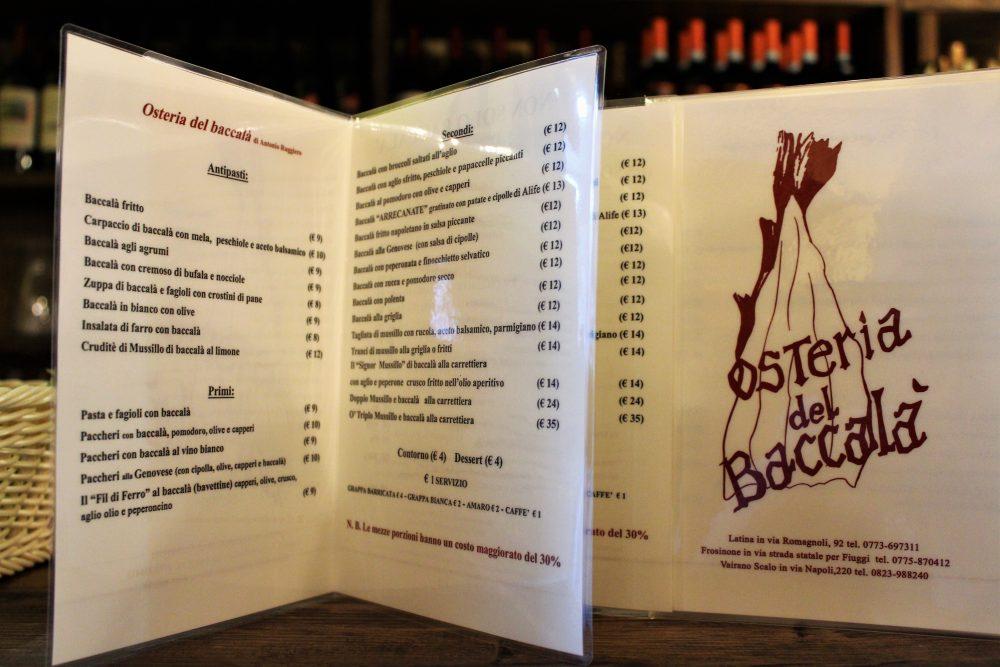 La Baccaliata III – il menu'