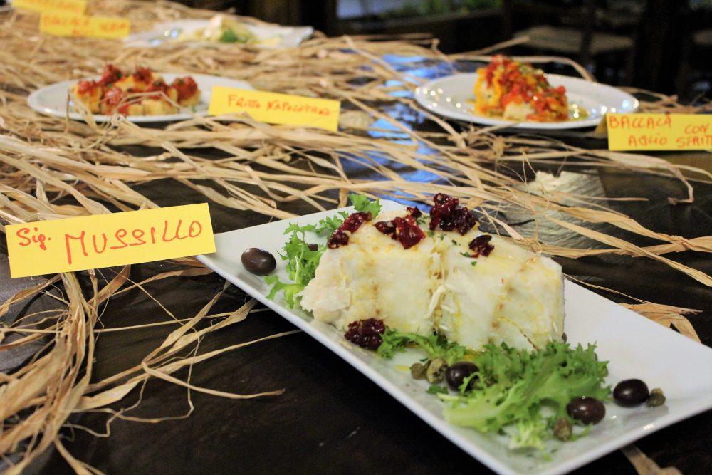 La Baccaliata III – baccala', il mussillo con olive e peperoni cruschi