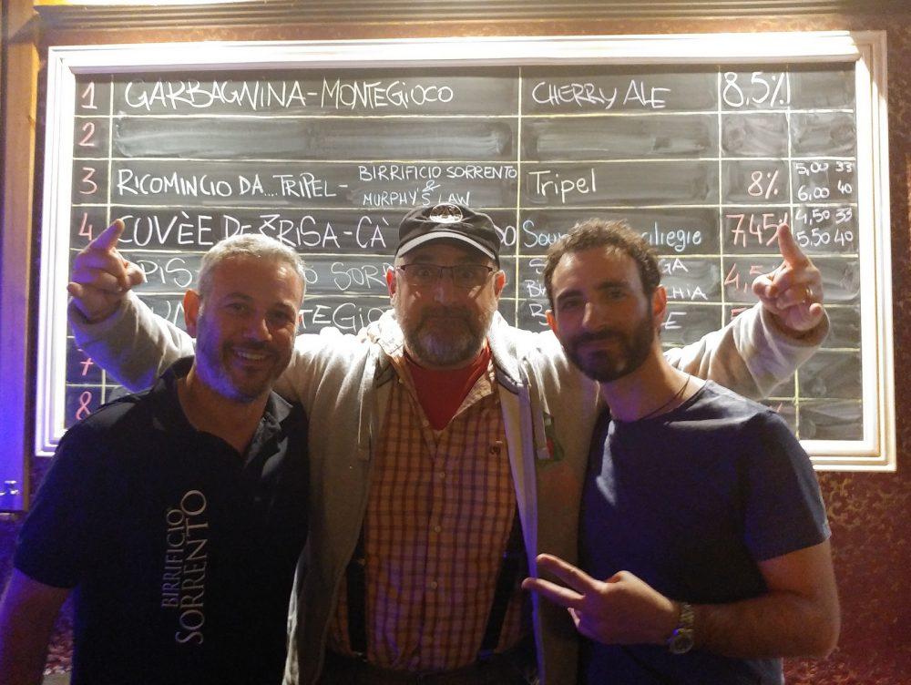 Da sinistra, Giuseppe Schisano del Birrificio Sorrento, Riccardo Franzosi del Birrificio Montegioco e Antonio Zullo del Murphy's Law