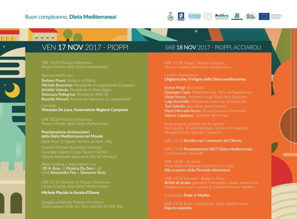 Dieta mediterranea, il 17 e il 18 novembre a Pollica - programma