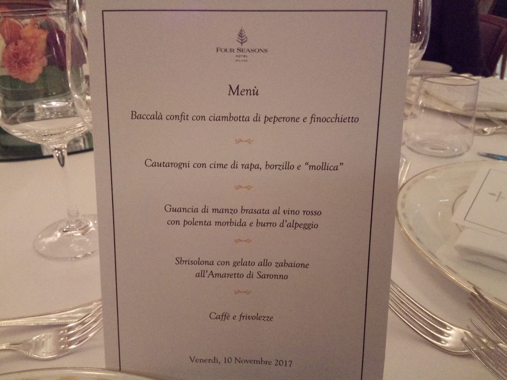 Four Seasons Hotel Milano, Menu' lucano