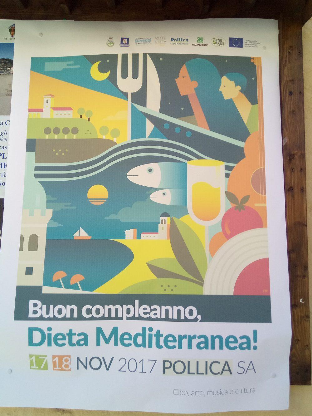 Locandina del compleanno della Dieta Mediterranea a PIoppi