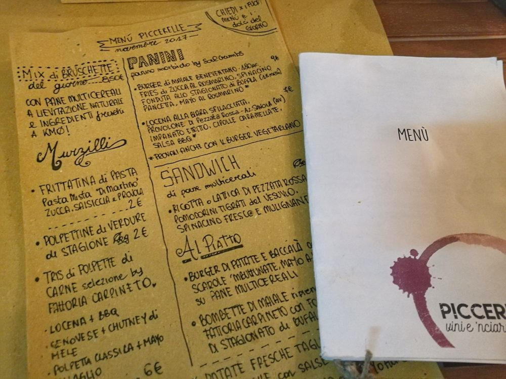 Piccerelle - Il menu'