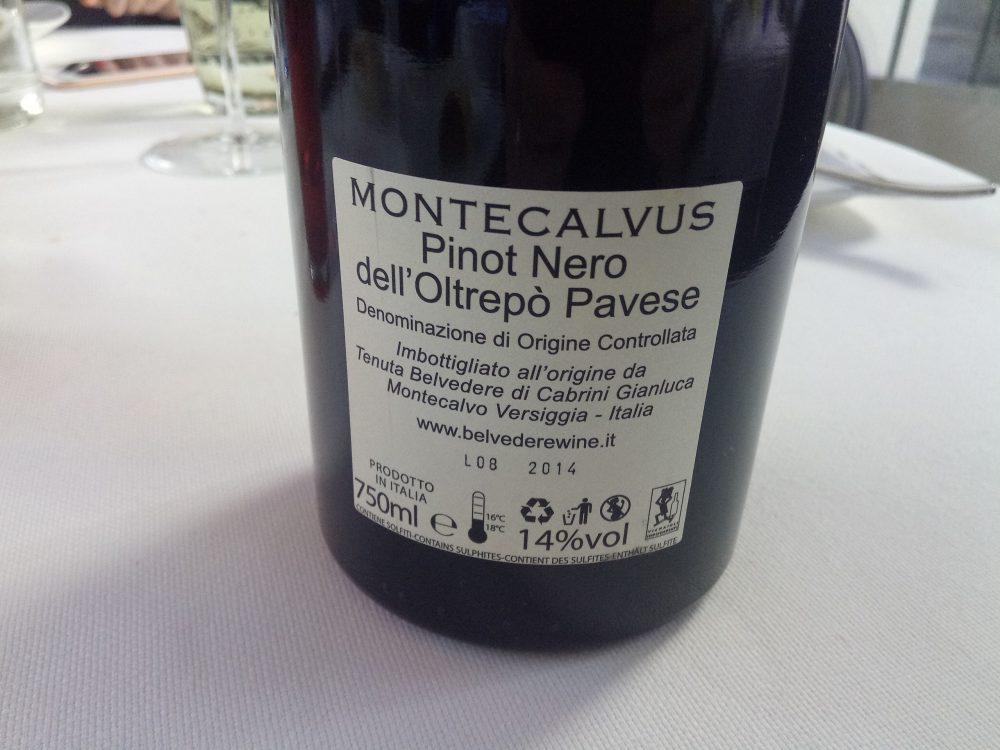 Ristorante La Piana, Montecalvus Pinot Nero dell'Oltrepo' Pavese Doc 2014
