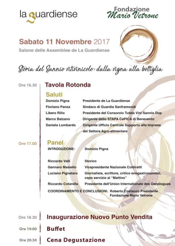 Storia del Sannio vitivinicolo, locandina inaugurazione