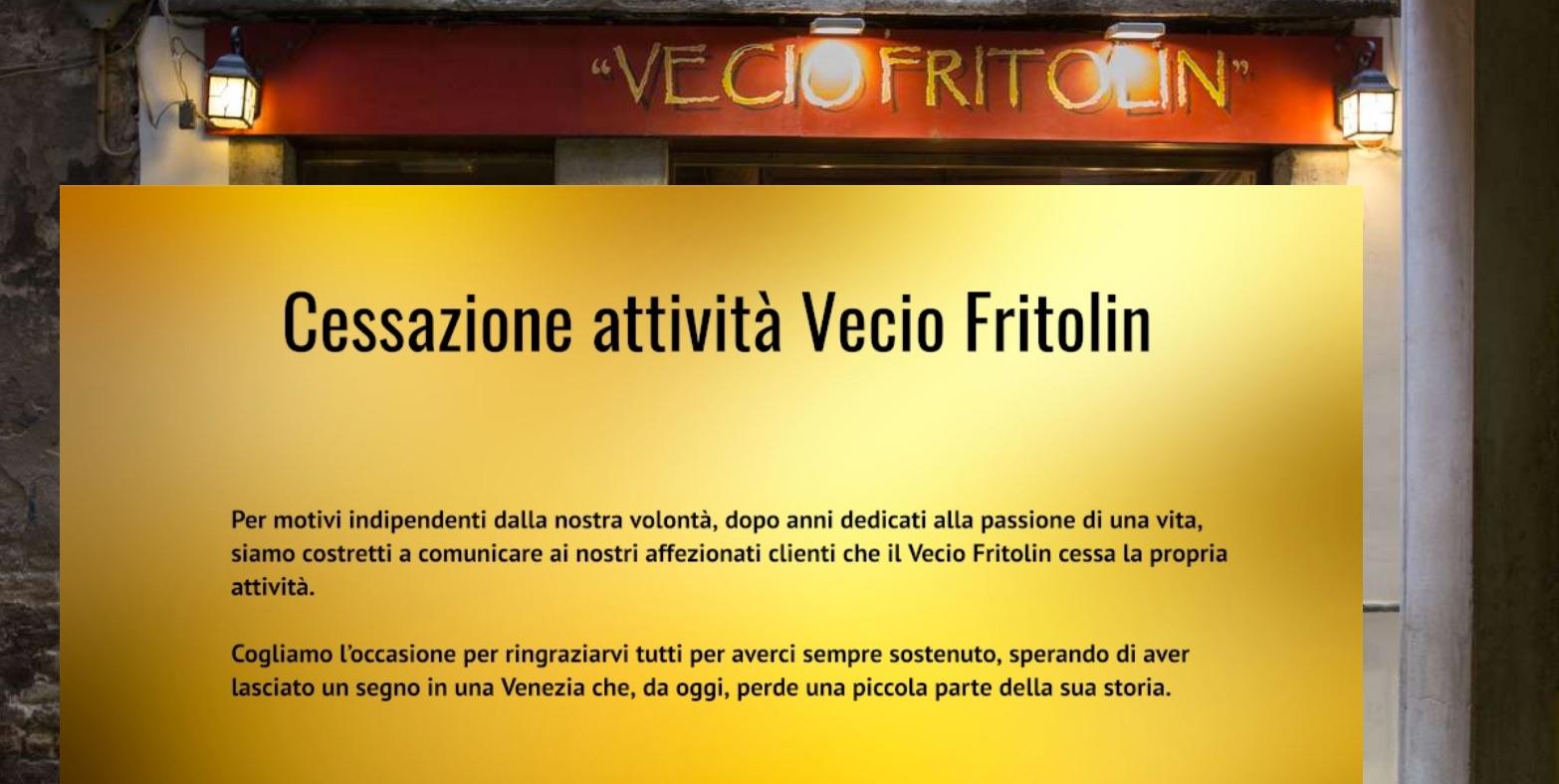Vecio Fritolin, l'annuncio della chiusura sul sito web del ristorante