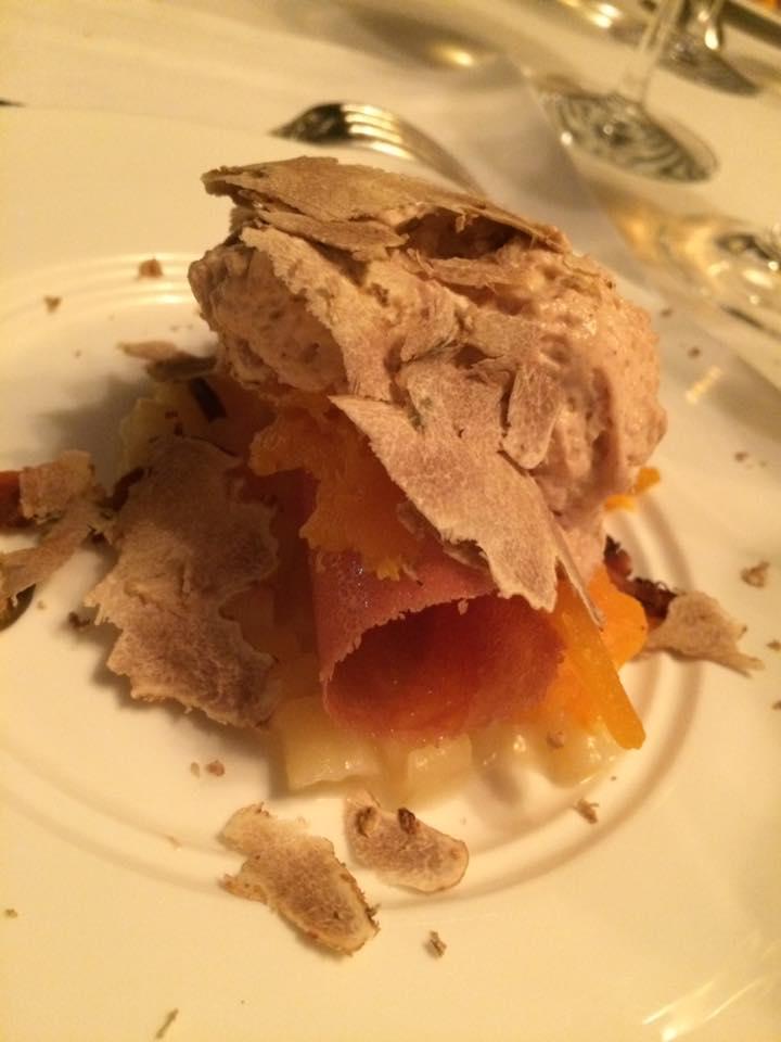 Ledoyen, dessert alla pasta, zucca e tartufo
